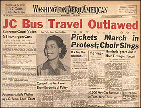Front page of Washington Afro American announcing Supreme Court decision in Morgan v. Virginia (1946)
