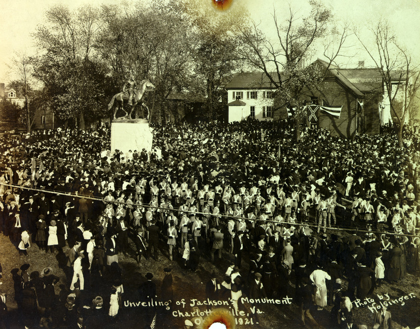 "A crowd gathers in Charlottesville, Virginia, on October 19, 1921, for the unveiling of a statue of Confederate war hero Stonewall Jackson. Sculptor Charles Keck created the statue of Jackson and his horse ""Little Sorrel""; they sit atop a marble pedestal facing south. (Holsinger Collection, University of Virginia Special Collections)"
