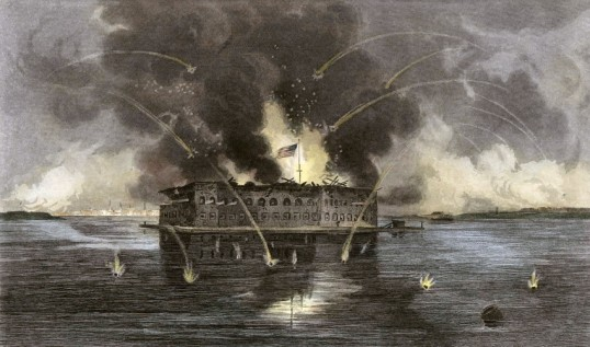 The Bombardment of Fort Sumter, an engraving that dates to 1863 (National Park Service)