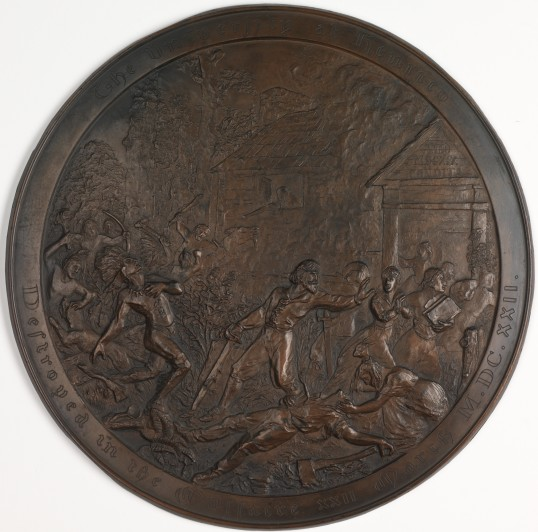 """Massacre Medallion"" by Adalbert Johann Volck, ca. 1901 (Virginia Indian Archive)"