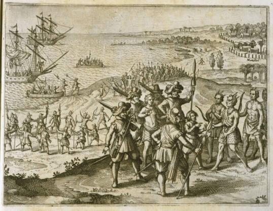 """Negotiating Peace with the Indians"" by Theodor de Bry and Matthew Merian, 1634 (Virginia Indian Archive)"