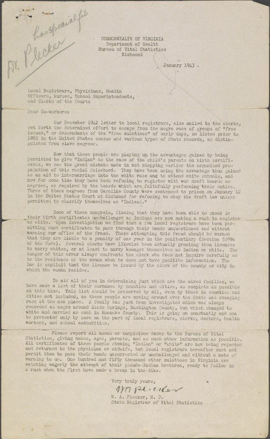 Letter from Walter Plecker to Local Registrars, et al., January 1943 (Virginia Indian Archive)