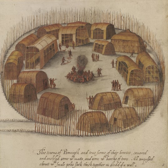 """The towne of Pomeiock"" by John White, ca. 1585 (Virginia Indian Archive)"